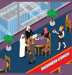 Arab persons business lunch isometric vector