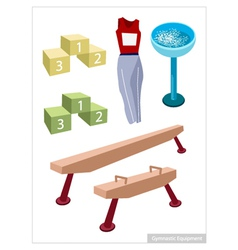 Artistic gymnastic equipments on a white vector
