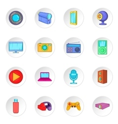 Audio and video icons set cartoon style vector