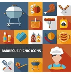 Barbecue picnic flat icons set vector