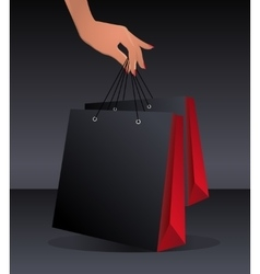 Black shopping bag template vector image