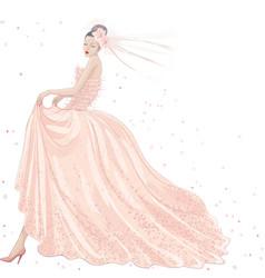 Bride in pink dress vector