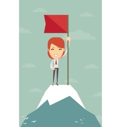 Businesswoman with flag on a Mountain peak vector image