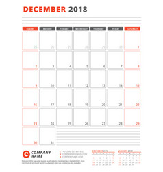 Calendar template for 2018 year december business vector