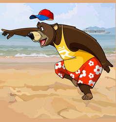 cartoon character bear in summer clothes vector image
