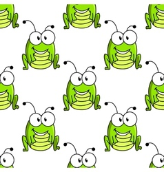 Cartoon green grasshopper character seamless vector