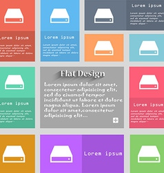 Cd-rom icon sign set of multicolored buttons metro vector