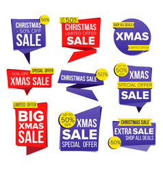 christmas sale banner set discount tag vector image vector image