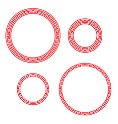 Classic chinese red round window and photo frame vector