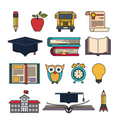 Color set college education items with educational vector