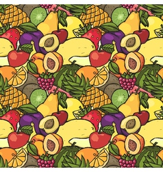 Colorful hand drawn seamless pattern with fruits vector