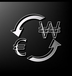 Currency exchange sign euro and south korea won vector