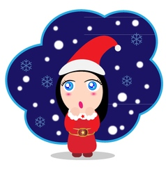 Cute baby girl Santa claus vector image
