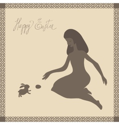 Easter card with girl and rabbit in light-brown vector image vector image