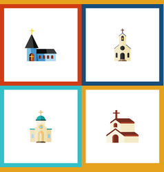 Flat icon building set of religion christian vector