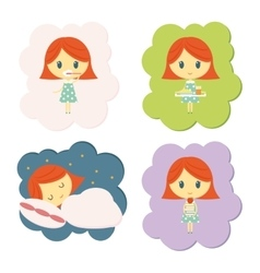 Girl daily routine vector image
