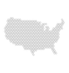 hexagonal mosaic in a shape of usa map black vector image