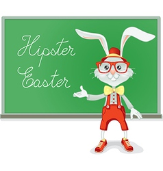 Hipster Easter Rabbit Teacher Cartoon vector image