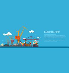 Horizontal banner of cargo seaport vector