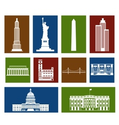 Landmarks of United States of America vector image vector image