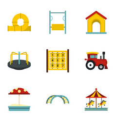 Modern children playground icons set flat style vector