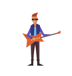 music pop or rock guitarist singer cartoon boy vector image