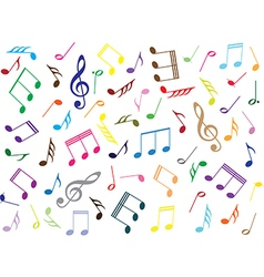 Musical notes colored background vector