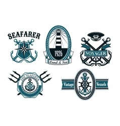 Nautical seafarer voyager and anchors symbols vector image