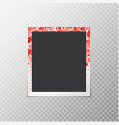Photo frame with falling hearts vector