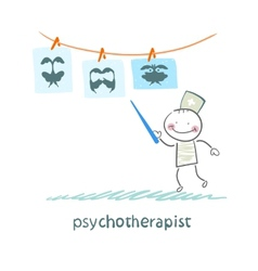 Psychotherapist shows a picture test and standing vector