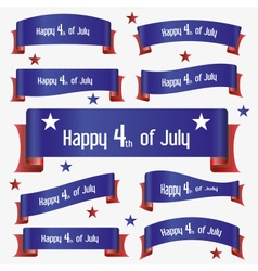 red and blue curved independence day ribbon vector image