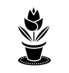 rose plant pot icon black vector image