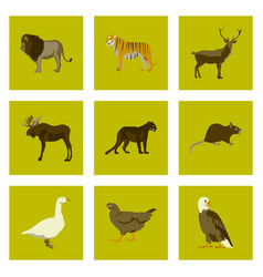 Set of in flat style animals vector