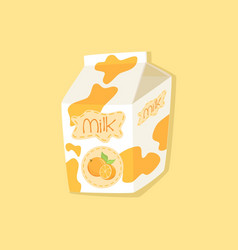 Spotted orange flavor milk carton packaging vector