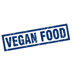 Square grunge blue vegan food stamp vector