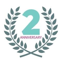 Template Logo 2 Anniversary in Laurel Wreath vector image vector image