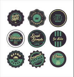 Vintage labels purple and green set 2 vector