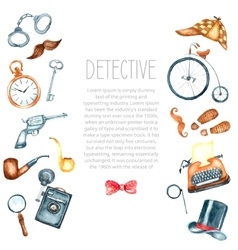 Watercolor retro detective accessories vector image vector image