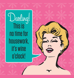 wine oclock retro party invitation vector image