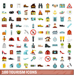 100 tourism icons set flat style vector