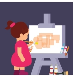 Kid girl drawing painting to get creative vector
