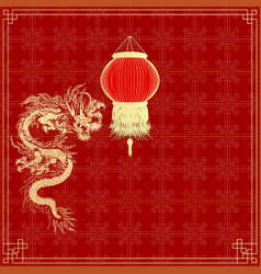 golden Chinese dragon on a red background vector image