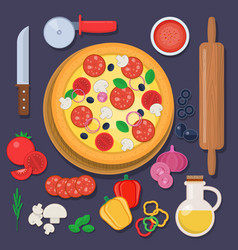 pizza with baking ingredients and rolling pin vector image