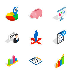 Business optimization icons isometric 3d style vector