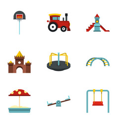 Playground equipment icons set flat style vector