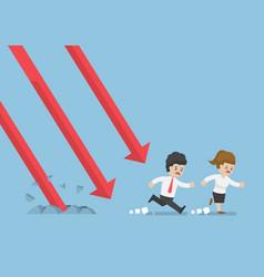 businessman run away from falling graph vector image