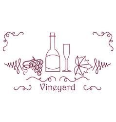 Grape berry leaf vine bottle vector