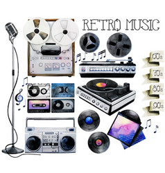 Watercolor musical devices vector