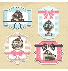 Set of vintage bakery labels vector