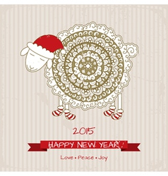 2015 happy new year greeting card with cute sheep vector